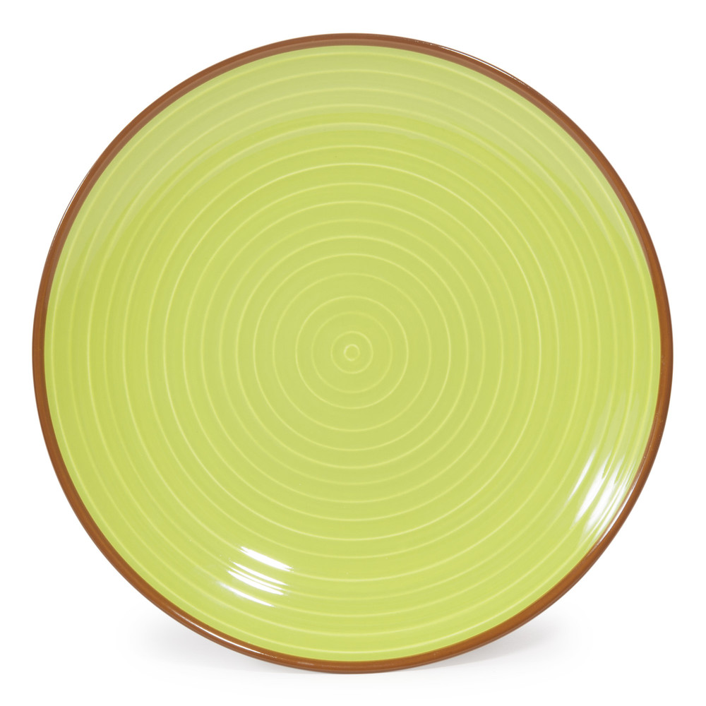 assiette plate en fa ence verte beige d 27 cm madrid maisons du monde. Black Bedroom Furniture Sets. Home Design Ideas