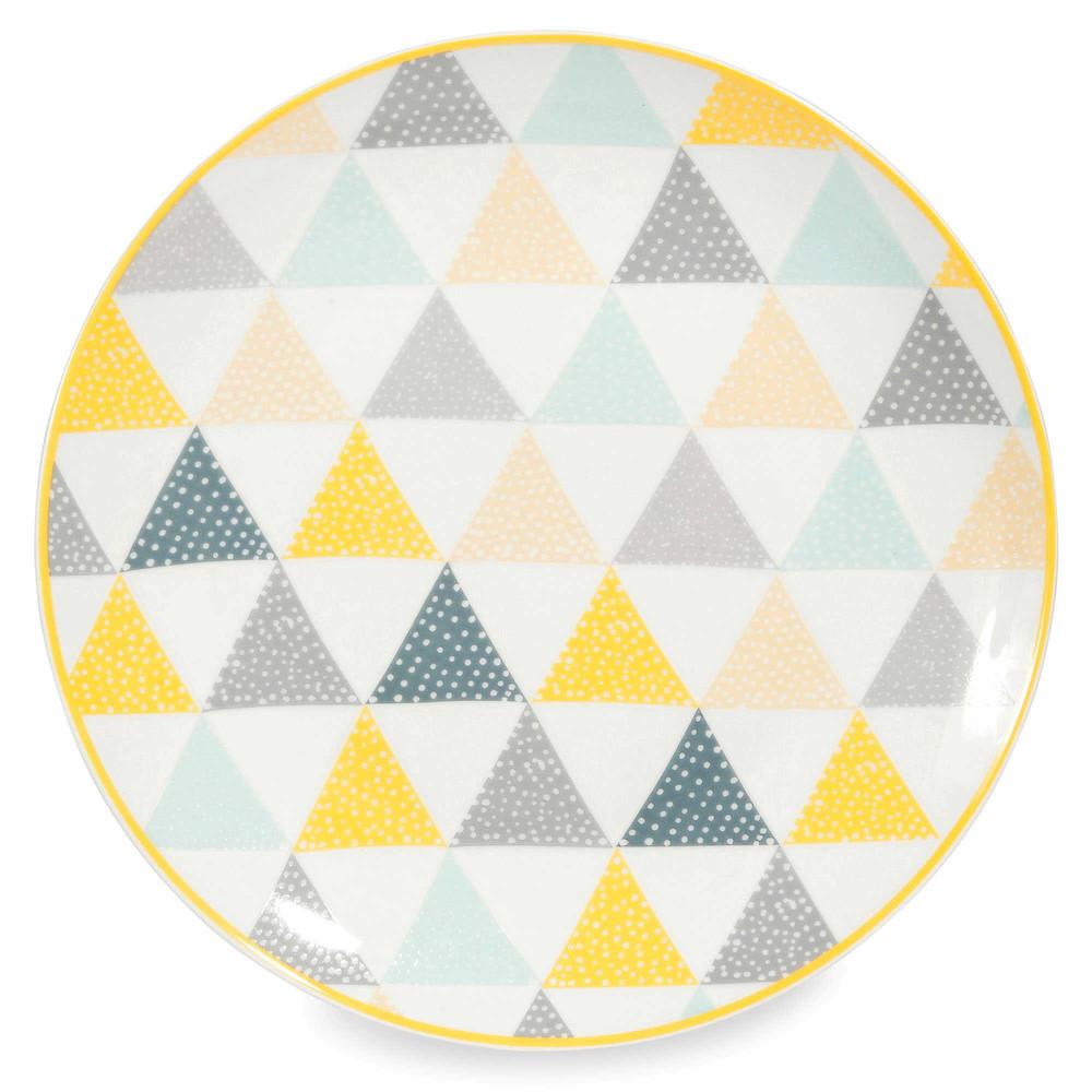 assiette plate en porcelaine blanche triangles lemon maisons du monde. Black Bedroom Furniture Sets. Home Design Ideas
