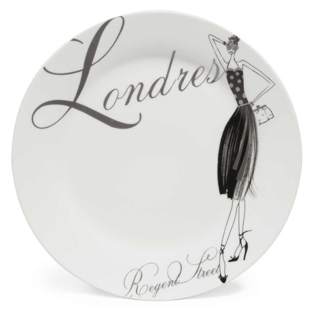 assiette plate en porcelaine blanche d 27 cm londres modeuse maisons du monde. Black Bedroom Furniture Sets. Home Design Ideas