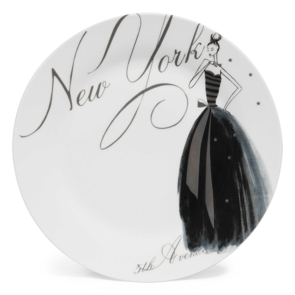 assiette plate en porcelaine blanche d 27 cm nyc modeuse maisons du monde. Black Bedroom Furniture Sets. Home Design Ideas