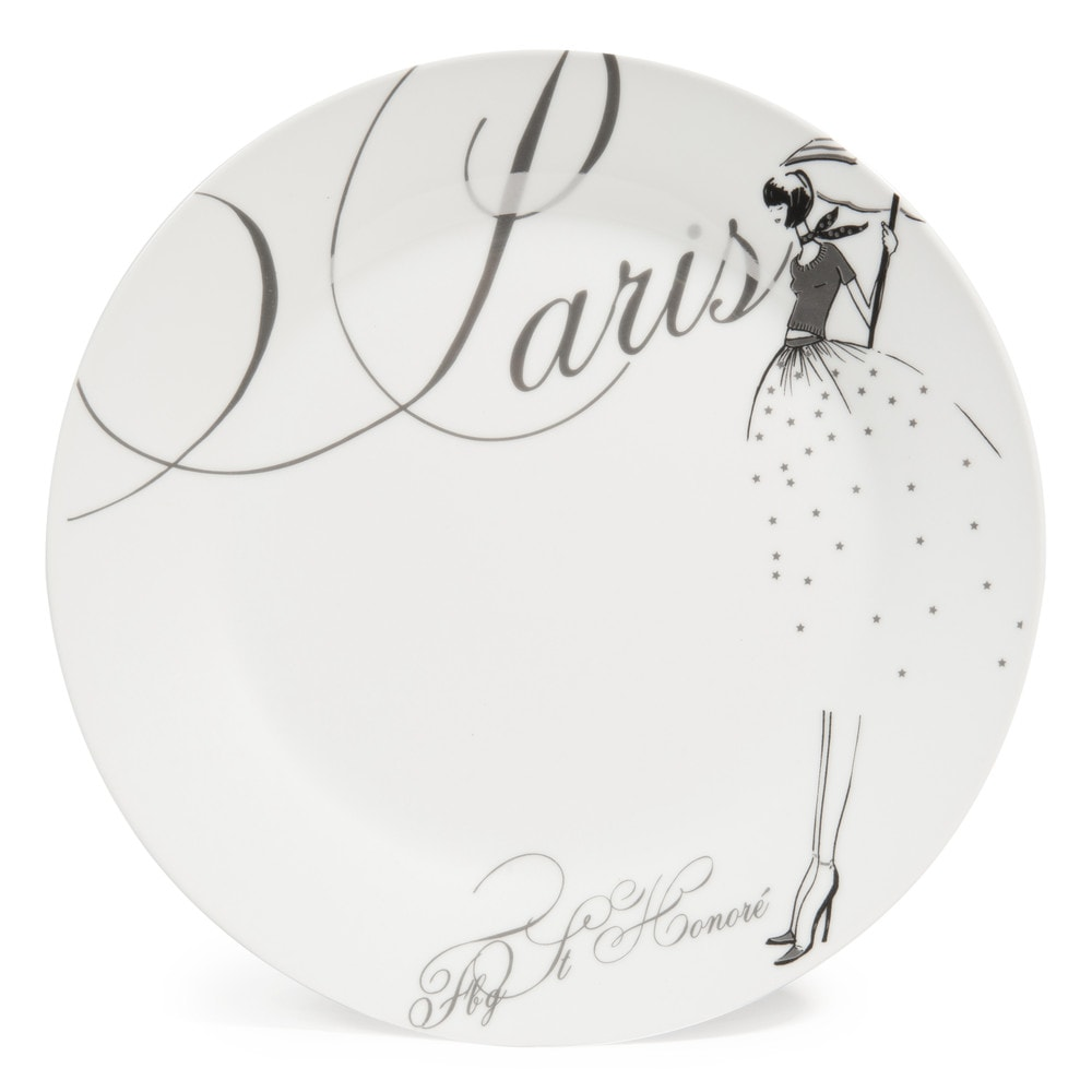 assiette plate en porcelaine blanche d 27 cm paris modeuse maisons du monde. Black Bedroom Furniture Sets. Home Design Ideas