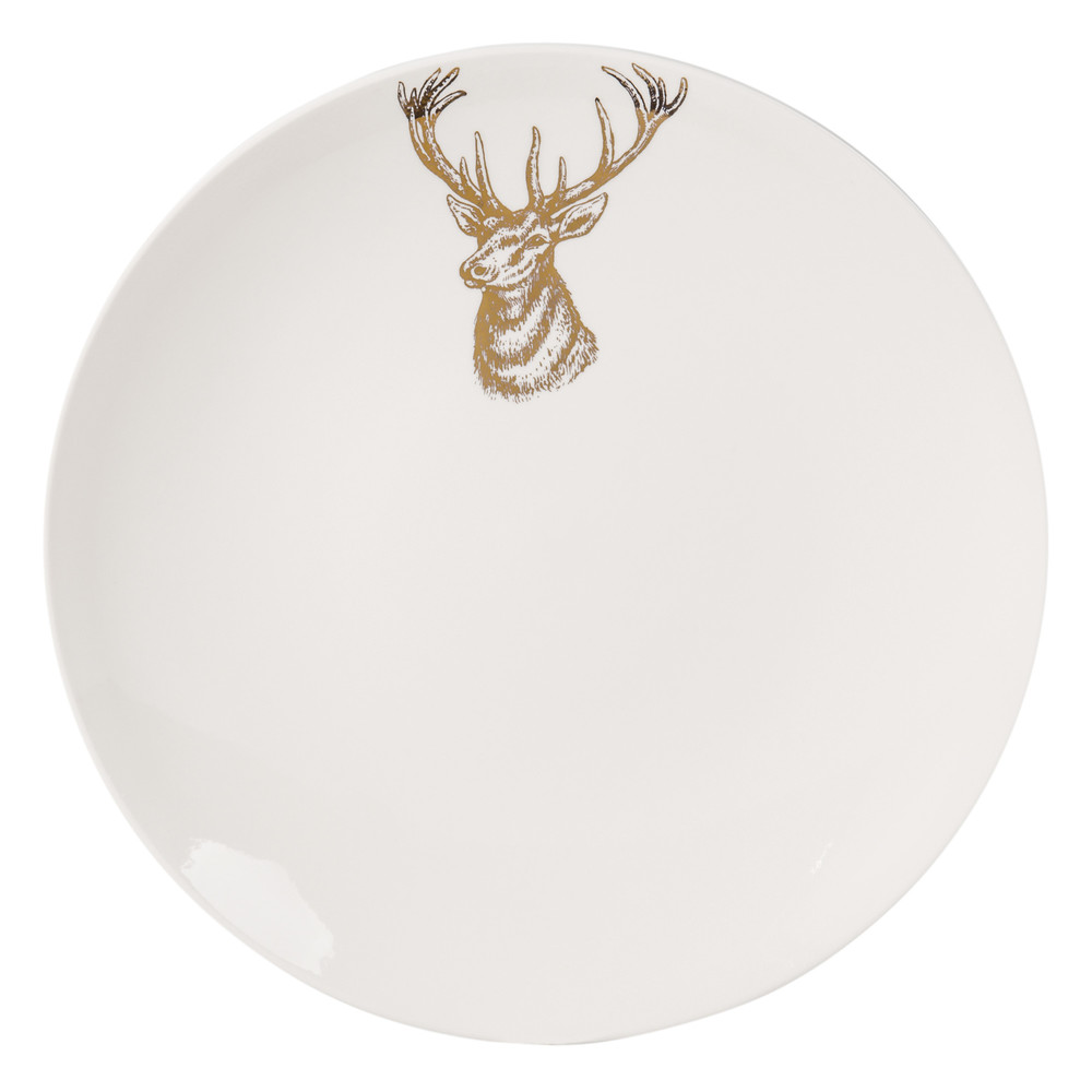 assiette plate en porcelaine blanche imprim e cerf maisons du monde. Black Bedroom Furniture Sets. Home Design Ideas