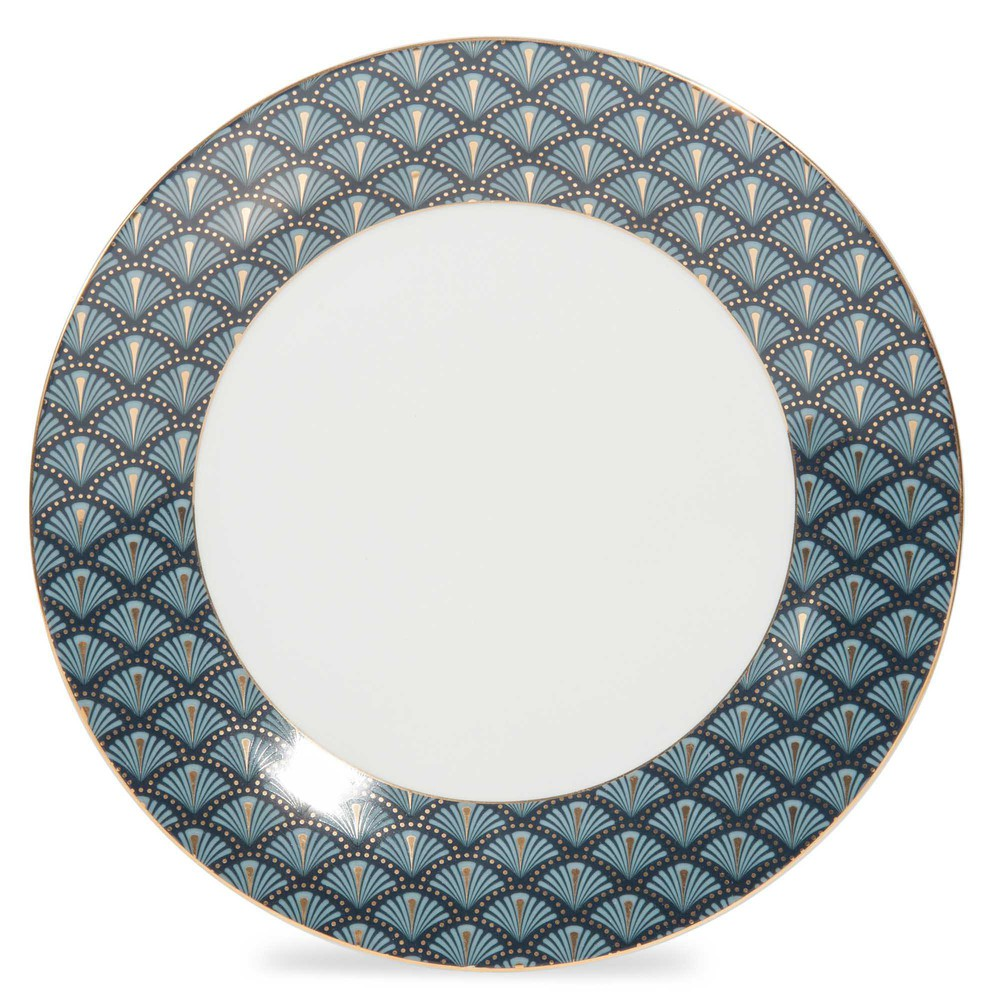 assiette plate en porcelaine bleue d 27 cm milord maisons du monde. Black Bedroom Furniture Sets. Home Design Ideas