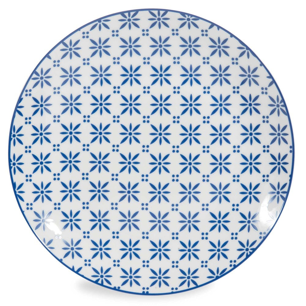 assiette plate en porcelaine bleue d 27 cm mykonos maisons du monde. Black Bedroom Furniture Sets. Home Design Ideas