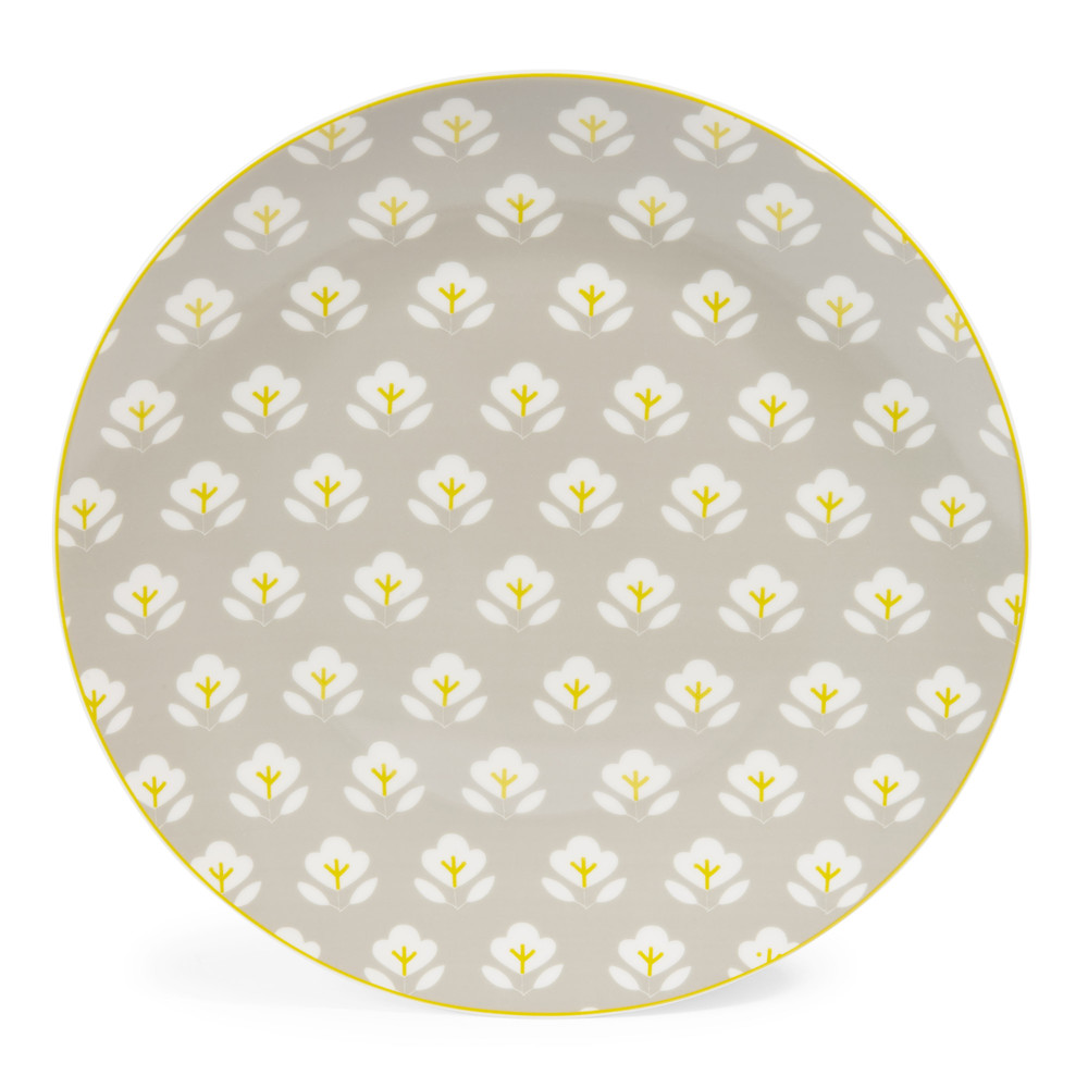 assiette plate en porcelaine grise d 27 cm wallpaper maisons du monde. Black Bedroom Furniture Sets. Home Design Ideas