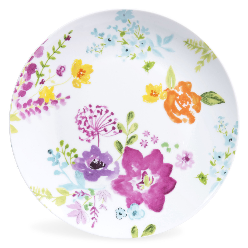 assiette plate en porcelaine motifs fleurs d 27 cm. Black Bedroom Furniture Sets. Home Design Ideas