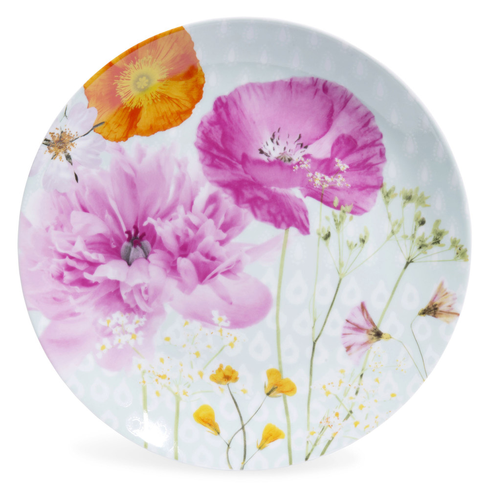 assiette plate en porcelaine motifs fleurs d 27 cm secrets maisons du monde. Black Bedroom Furniture Sets. Home Design Ideas