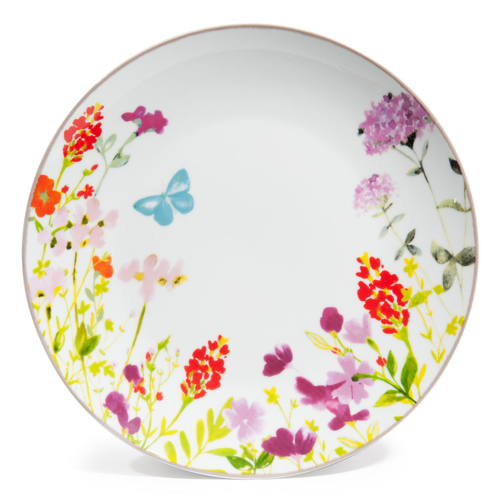assiette plate en porcelaine multicolore d 27 cm idylle. Black Bedroom Furniture Sets. Home Design Ideas