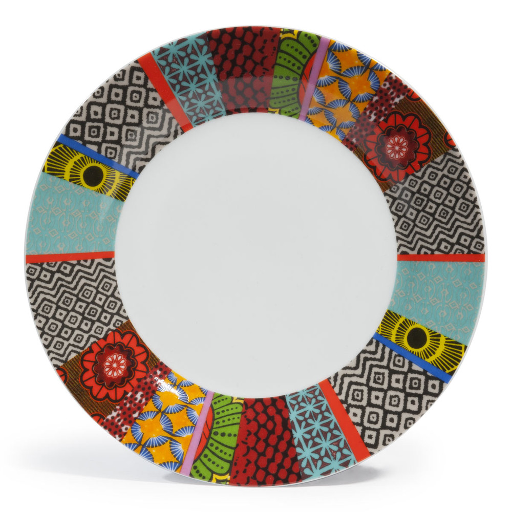 assiette plate en porcelaine multicolore d 27 cm janeiro maisons du monde. Black Bedroom Furniture Sets. Home Design Ideas