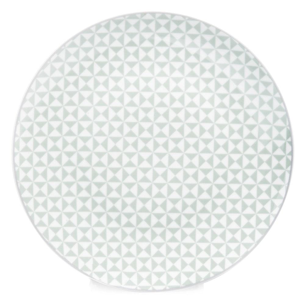 Assiette Verte Maison Du Monde #8: Assiette Plate En Porcelaine Vert Du0027eau D 27 Cm GÉOMÉTRIK