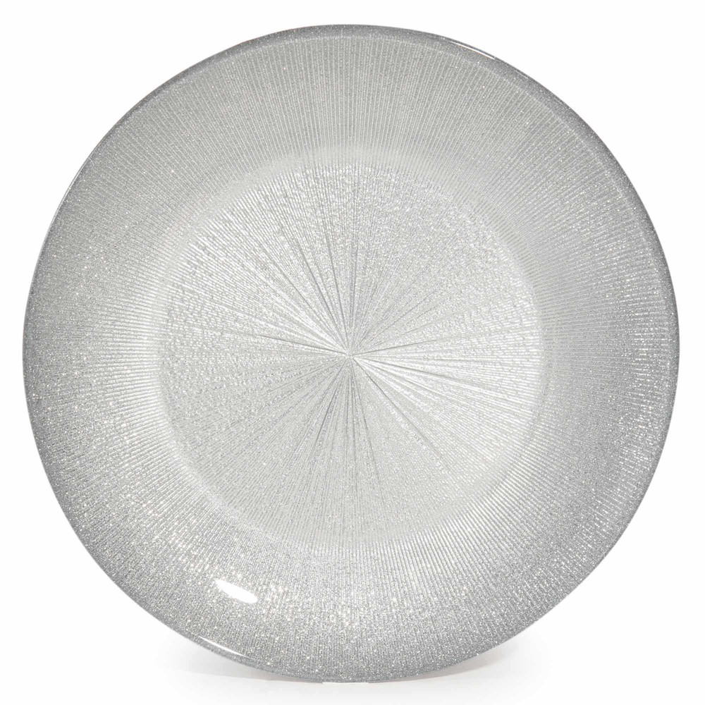 assiette plate en verre argent d 28 cm glitter maisons du monde. Black Bedroom Furniture Sets. Home Design Ideas