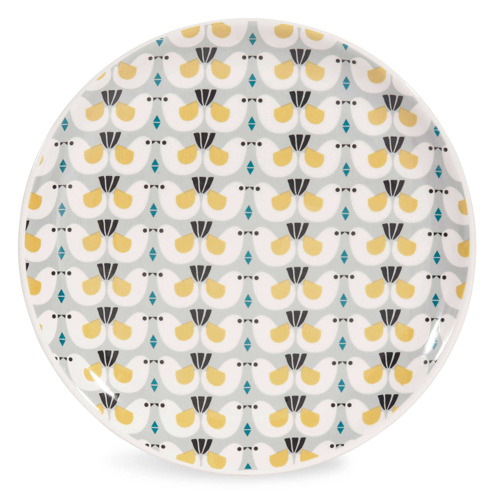 assiette plate motif oiseaux en fa ence d 27 cm portobello. Black Bedroom Furniture Sets. Home Design Ideas