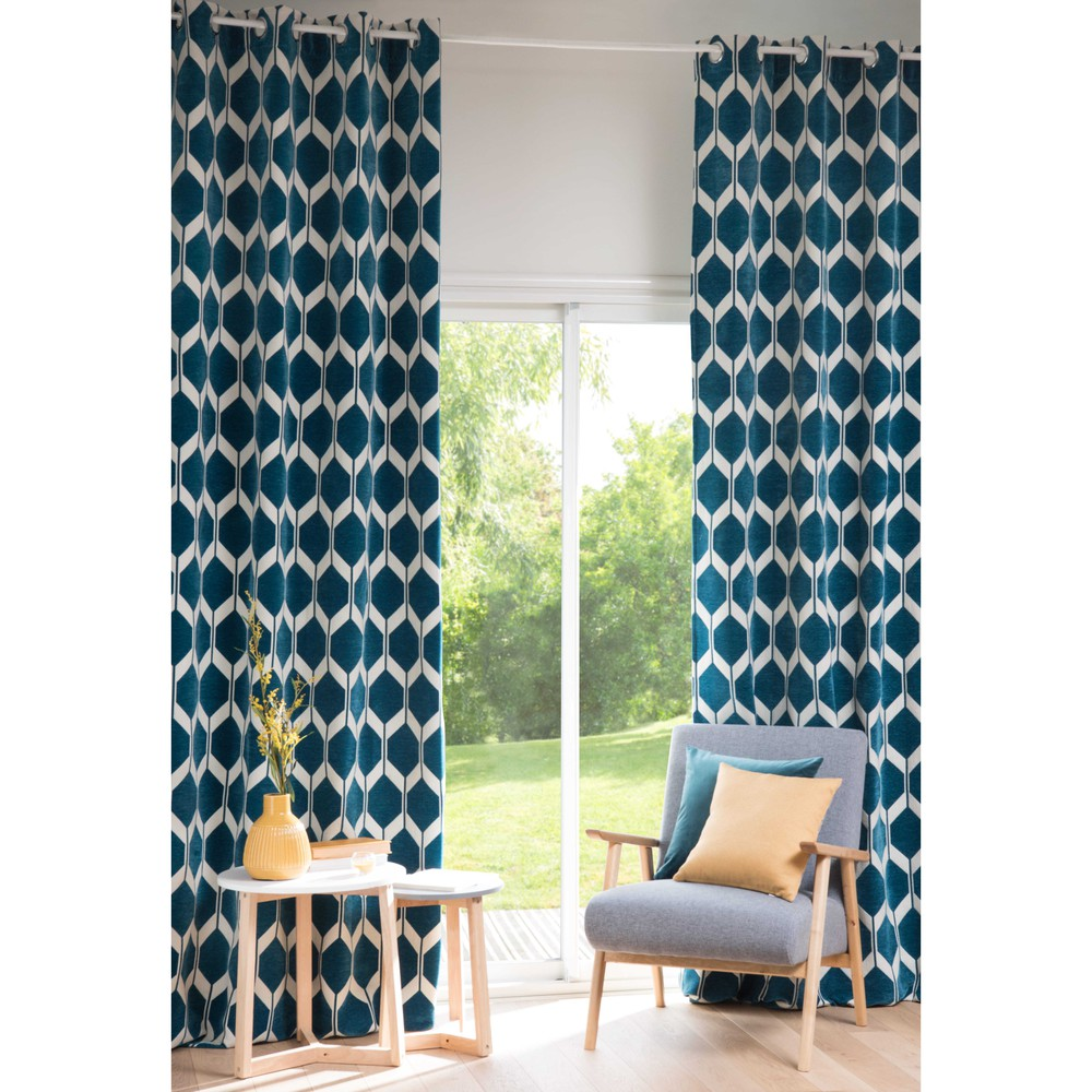 aston peacock blue patterned curtain 140 x 300 cm