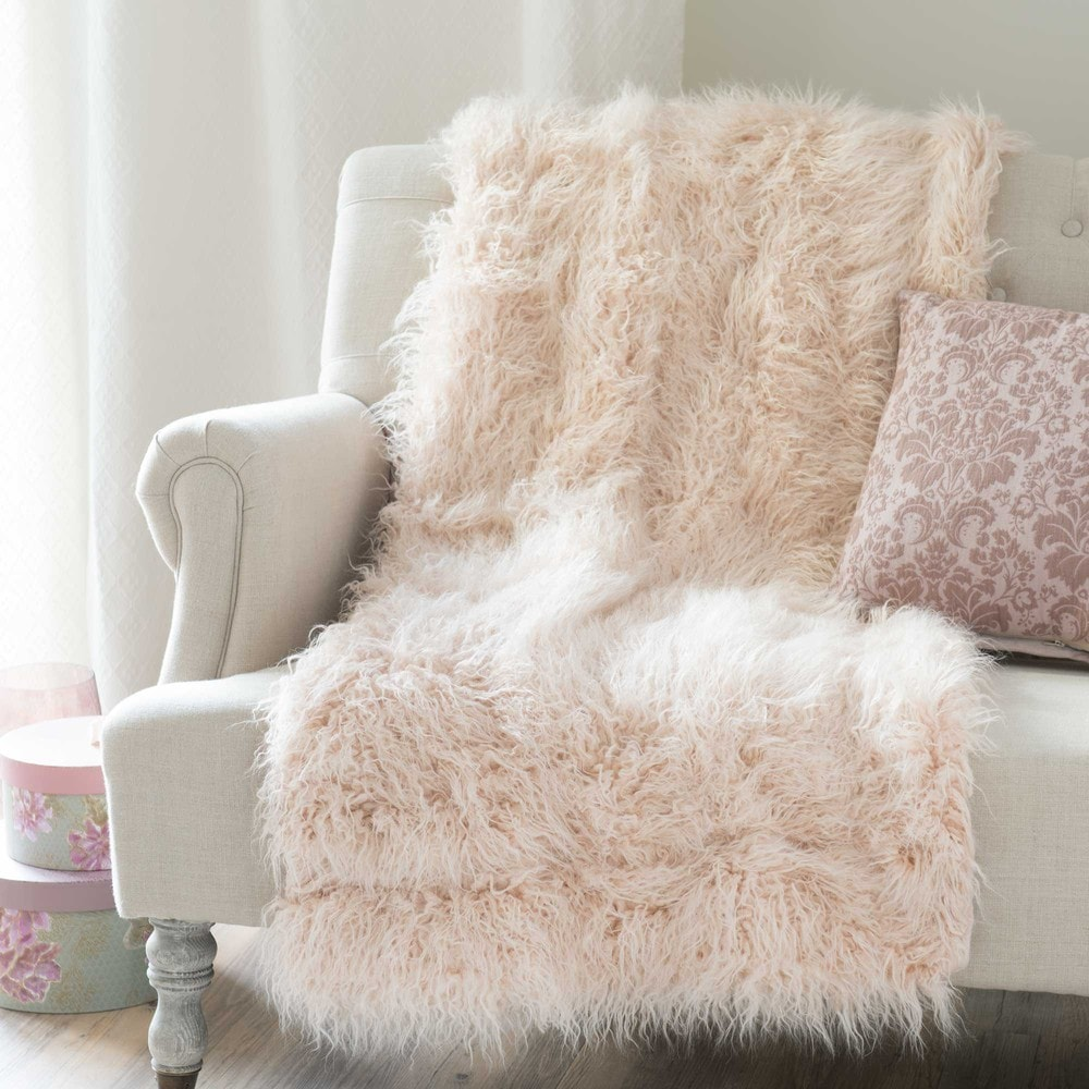 Astrakan Blush Faux Fur Throw In Pink 130 X 170cm