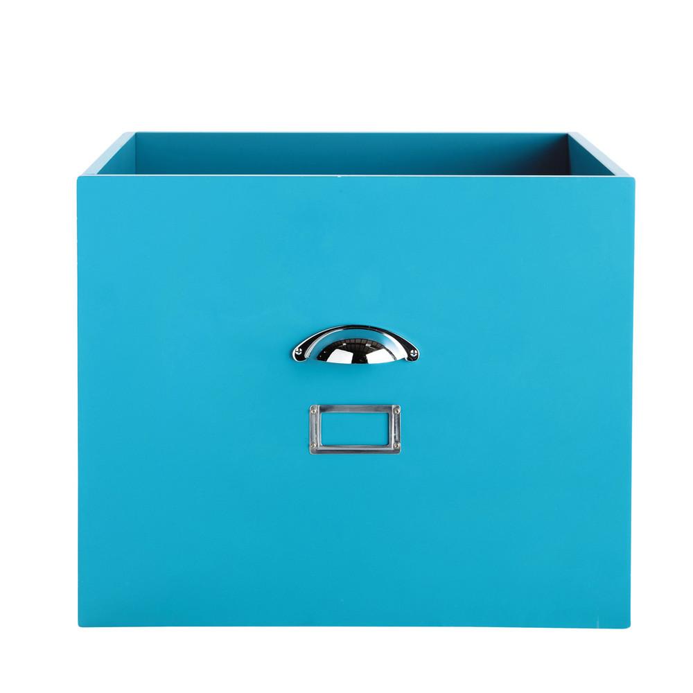 aufbewahrungsbox aus metall b 45 cm blau tonic maisons du monde. Black Bedroom Furniture Sets. Home Design Ideas
