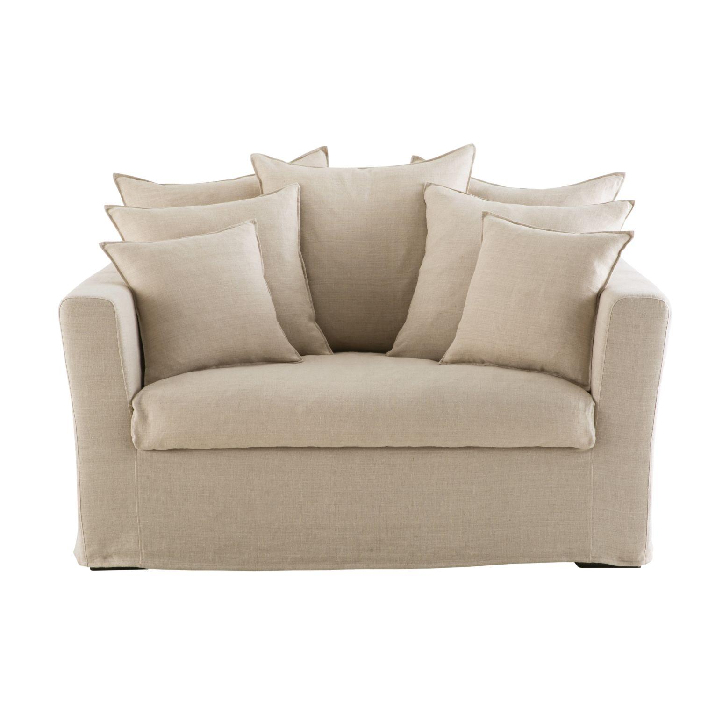 Ausziehbares 1 2 Sitzer Sofa Leinenbezug Beige Bartholomé