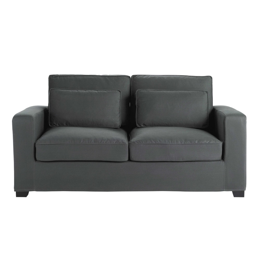 ausziehbares 2 3 sitzer sofa aus baumwolle schiefergrau matratze 12 cm milano maisons du monde. Black Bedroom Furniture Sets. Home Design Ideas