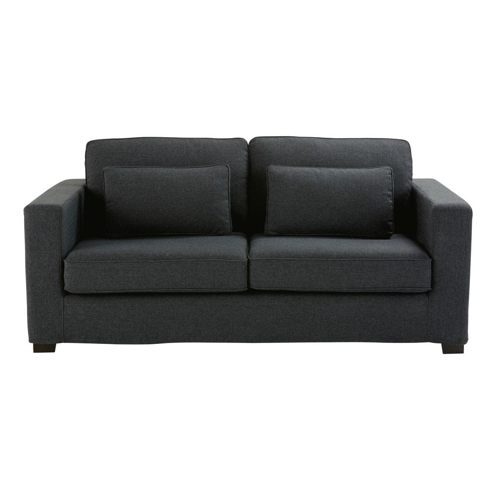 ausziehbares 2 3 sitzer sofa aus monet gewebe anthrazitgrau matratze 12 cm milano maisons. Black Bedroom Furniture Sets. Home Design Ideas