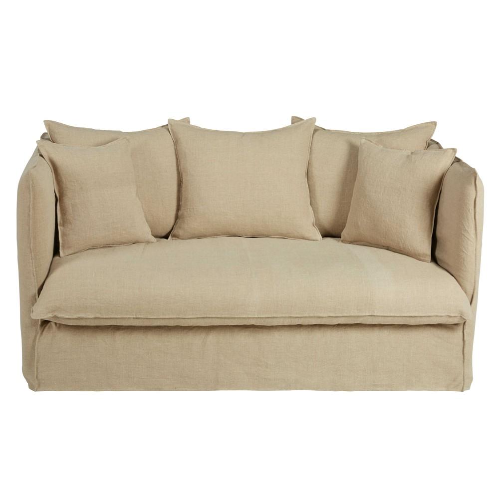 Ausziehbares 2 Sitzer Sofa Mit Bezug Aus Beigem Gewaschenem Leinen Louvre Maisons Du Monde