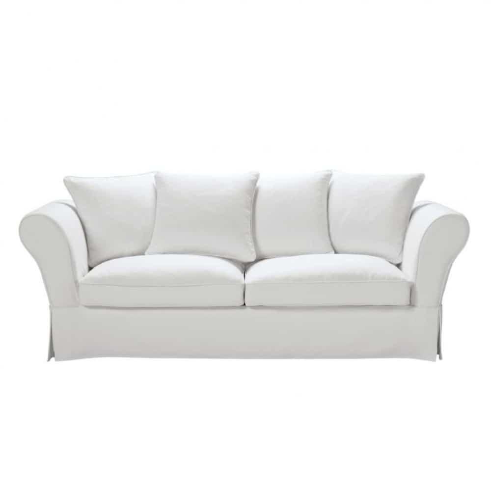 Ausziehbares 3 4 sitzer sofa aus baumwolle elfenbein for Sofa 4 sitzer landhausstil