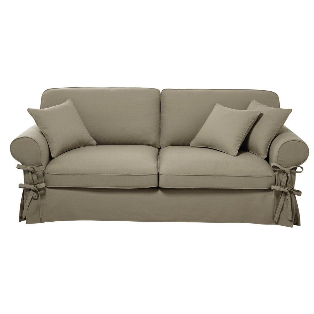 ausziehbares 3 4 sitzer sofa aus baumwolle graubeige matratze 6 cm butterfly maisons du monde. Black Bedroom Furniture Sets. Home Design Ideas
