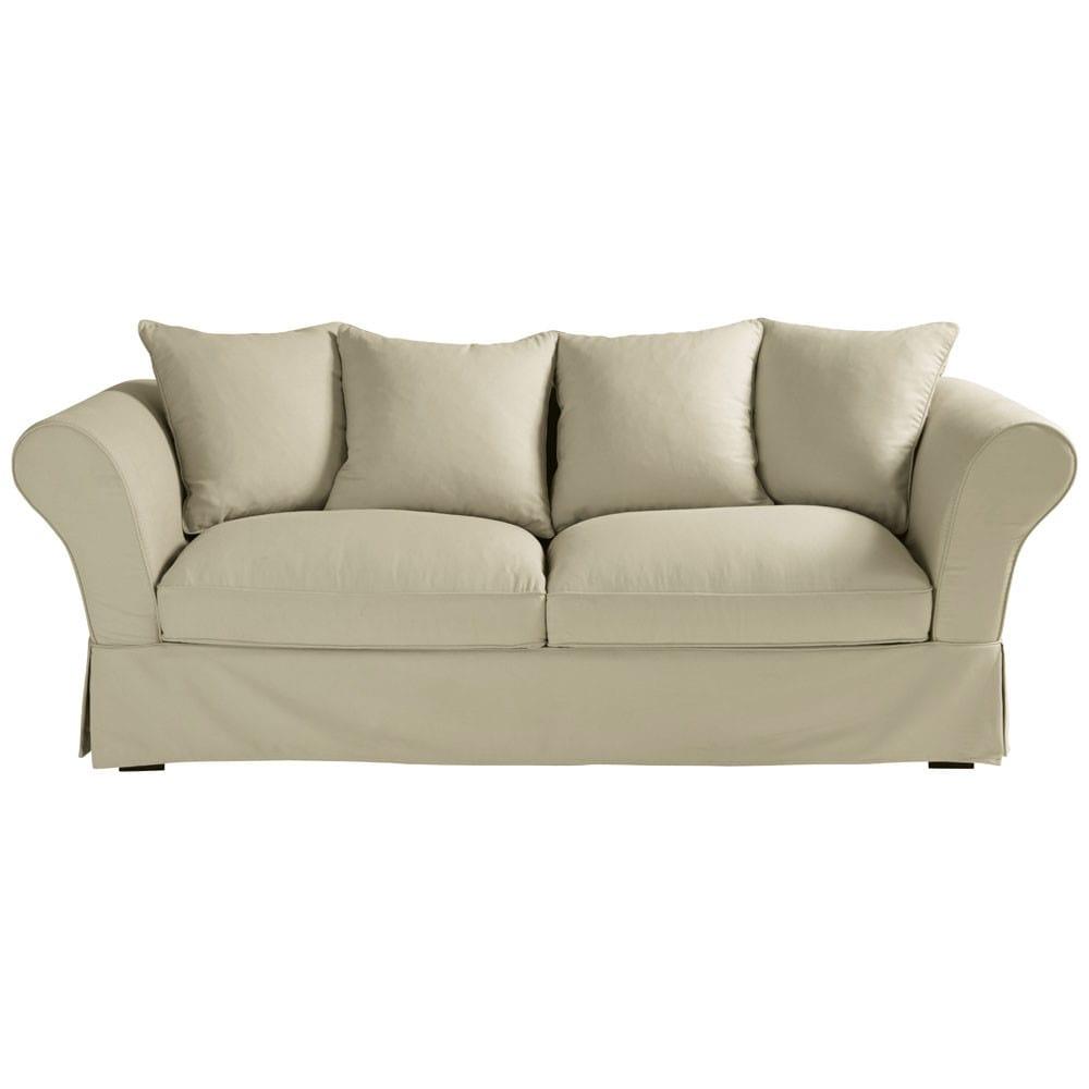 Ausziehbares 3 4 Sitzer Sofa Aus Baumwolle Graubeige Roma Maisons Du Monde
