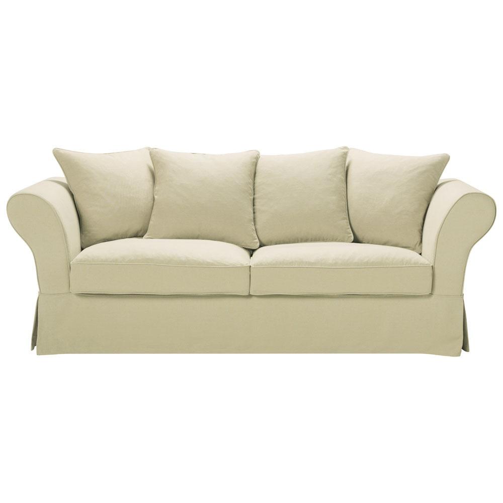 Schön Ausziehbares Sofa Referenz Von 3 4 Sitzer Aus Grobem Leinen Beige