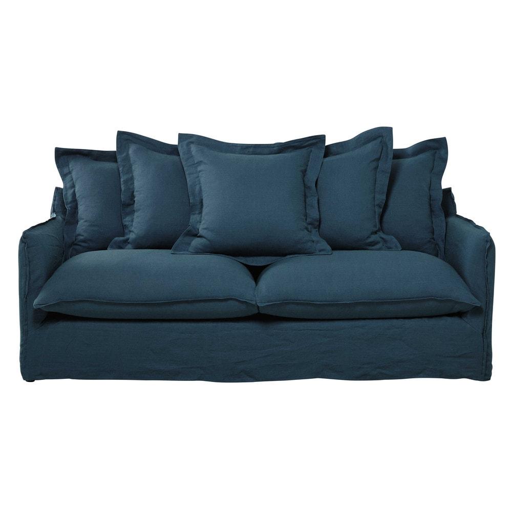 ausziehbares 3 4 sitzer sofa aus leinen entenblau barcelone maisons du monde. Black Bedroom Furniture Sets. Home Design Ideas