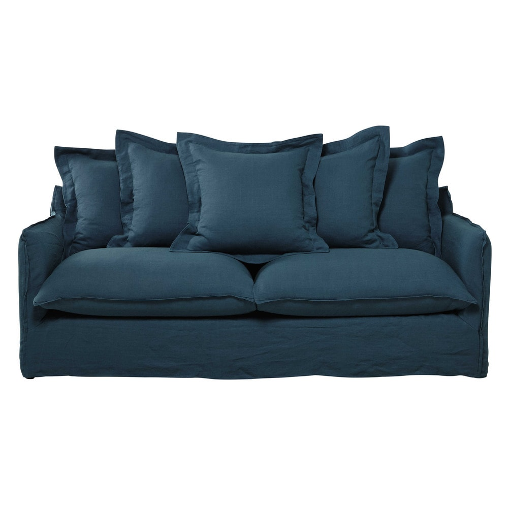 Ausziehbares 3 4 sitzer sofa aus leinen entenblau for Sofa 4 sitzer