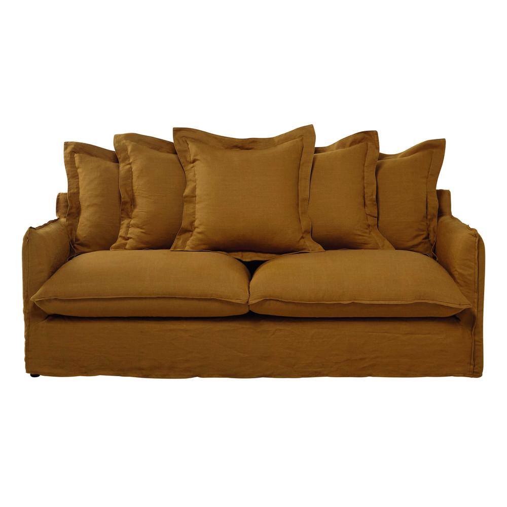 ausziehbares 3 4 sitzer sofa aus leinen senfgelb barcelone maisons du monde. Black Bedroom Furniture Sets. Home Design Ideas