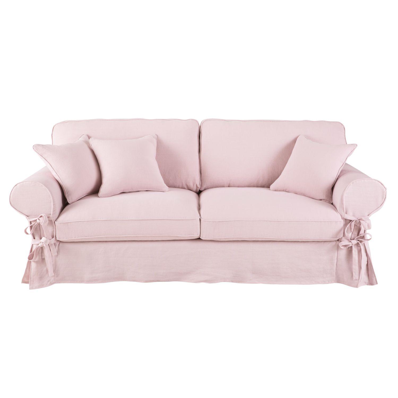 Attraktiv Couch Polster Sammlung Von Ausziehbares 3-4-sitzer-sofa, Bezug Aus Rosafarbenem Leinen, 6