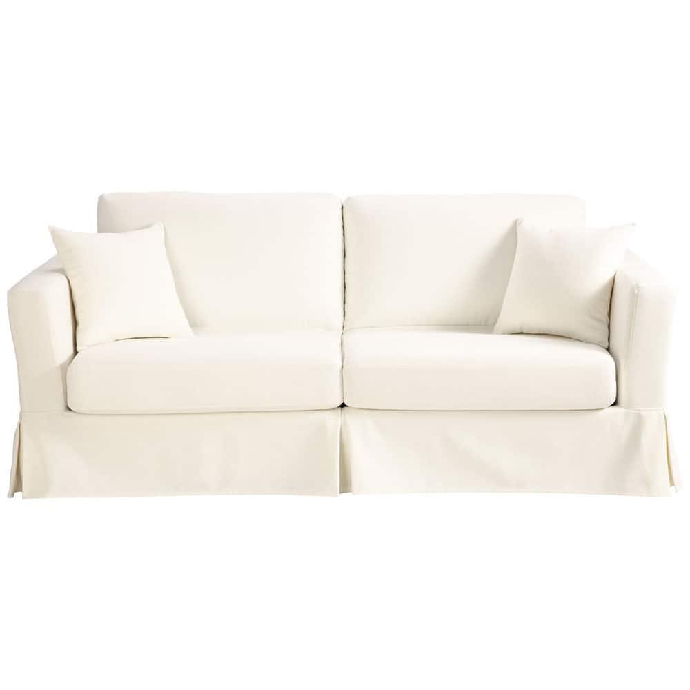 ausziehbares 3 sitzer sofa aus baumwolle elfenbein royan royan maisons du monde. Black Bedroom Furniture Sets. Home Design Ideas