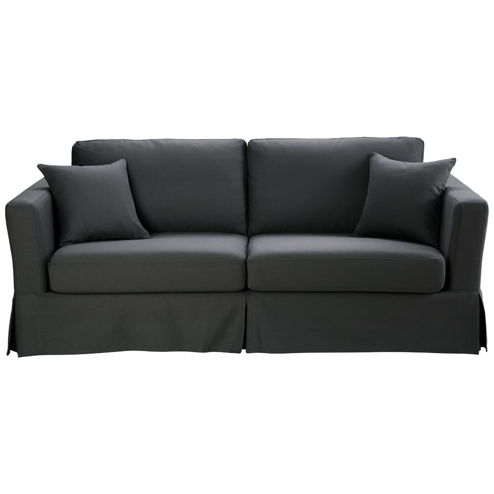 ausziehbares 3 sitzer sofa aus baumwolle schiefergrau royan royan maisons du monde. Black Bedroom Furniture Sets. Home Design Ideas