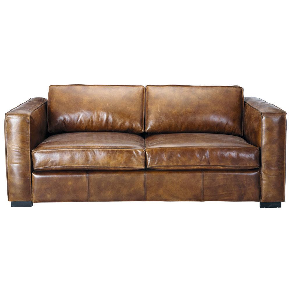 Ausziehbares 3 Sitzer Sofa Aus Leder Braun Antik Berlin Maisons