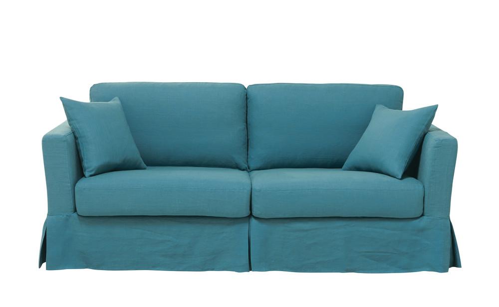ausziehbares 3 sitzer sofa aus leinen entenblau royan. Black Bedroom Furniture Sets. Home Design Ideas