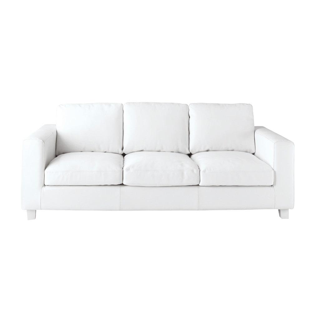 ausziehbares 3 sitzer sofa aus spaltleder wei kennedy kennedy maisons du monde. Black Bedroom Furniture Sets. Home Design Ideas