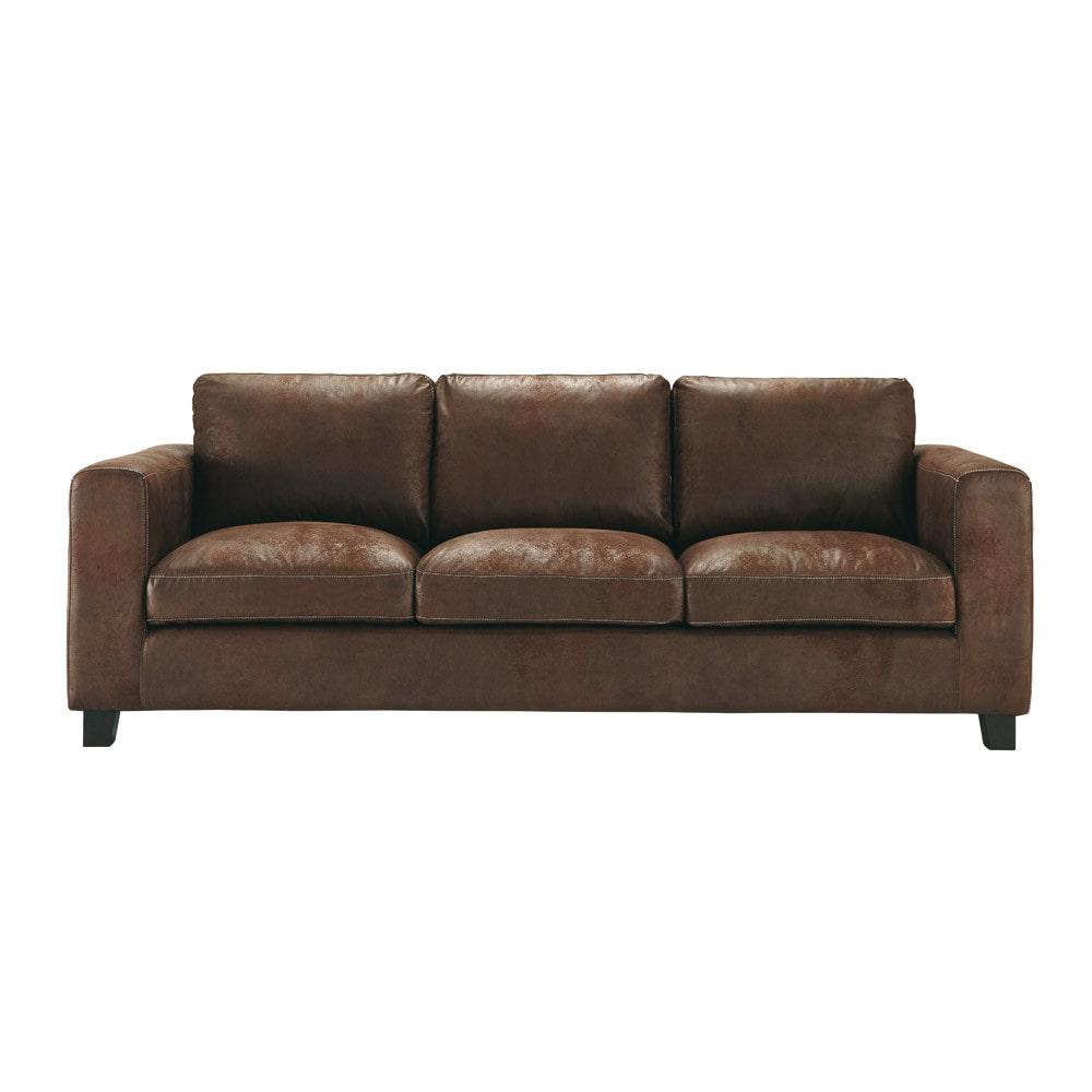 Ausziehbares 3 Sitzer Sofa Aus Wildlederimitat Braun Kennedy Kennedy Maisons Du Monde