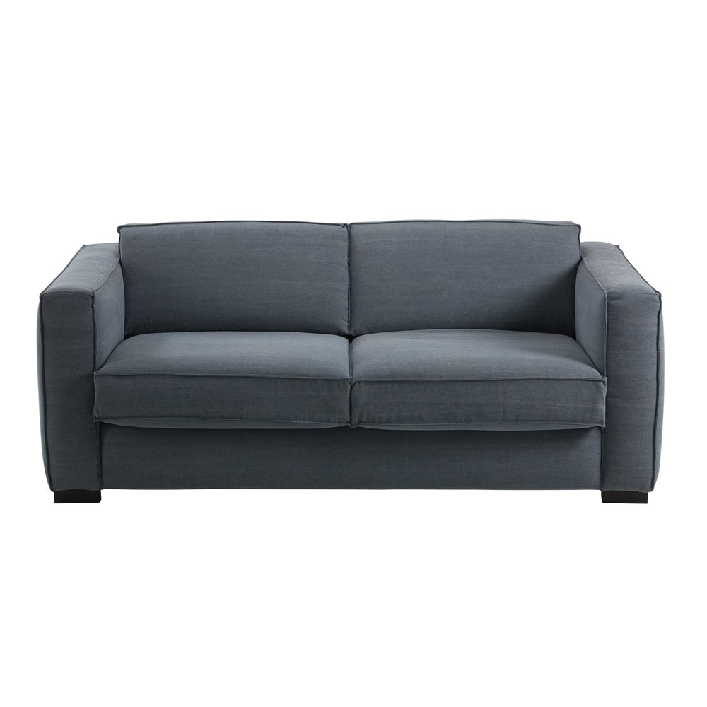 ausziehbares 3 sitzer sofa mit blaugrauem baumwollbezug berlin maisons du monde. Black Bedroom Furniture Sets. Home Design Ideas