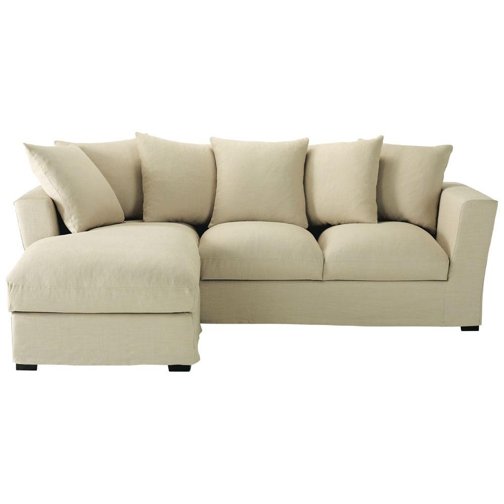 ausziehbares ecksofa 5 sitzer aus leinen natur bruxelles bruxelles maisons du monde. Black Bedroom Furniture Sets. Home Design Ideas