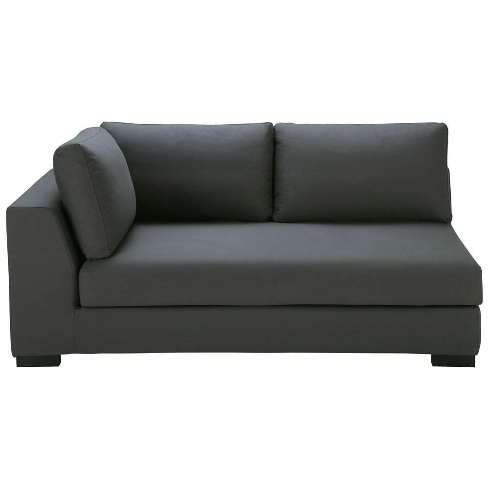 ausziehbares modulares sofa mit linker armlehne aus baumwolle schiefergrau terence maisons du. Black Bedroom Furniture Sets. Home Design Ideas