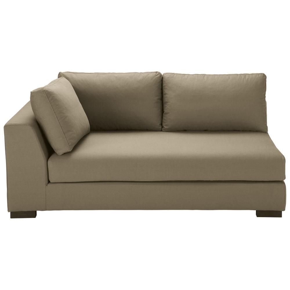 ausziehbares modulares sofa mit linker armlehne aus baumwolle taupe terence maisons du monde. Black Bedroom Furniture Sets. Home Design Ideas