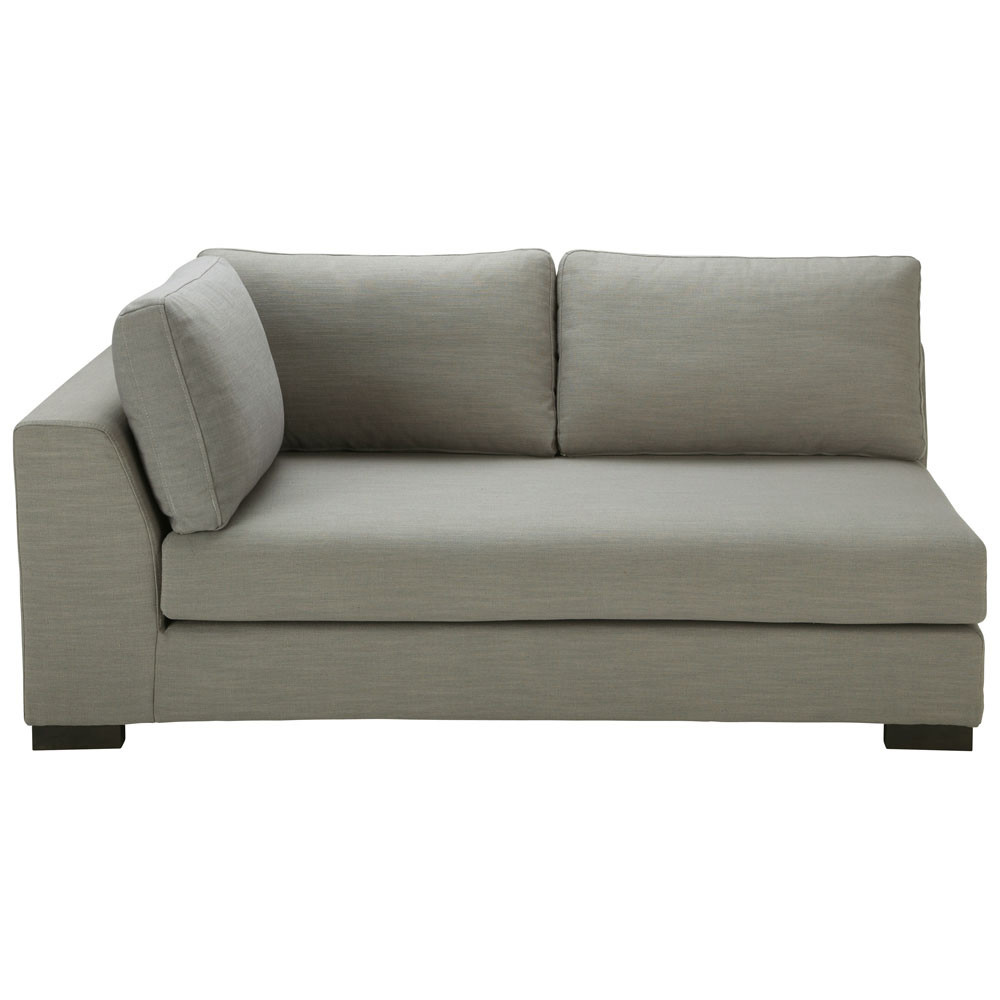 ausziehbares modulares sofa mit linker armlehne aus leinen monet hellgrau terence maisons du monde. Black Bedroom Furniture Sets. Home Design Ideas