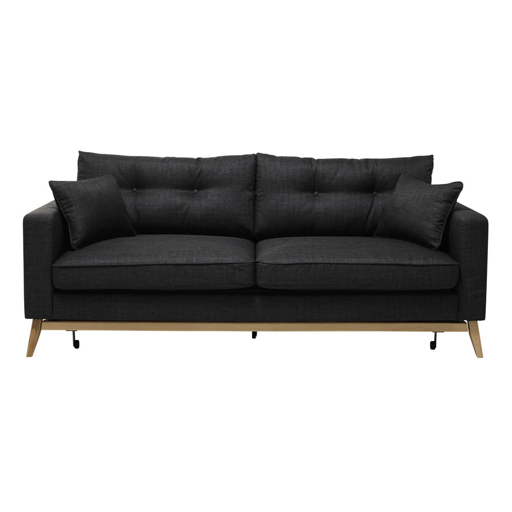 Sofa stoff  Ausziehbares Sofa 3-sitzig aus Stoff, anthrazitgrau Brooke ...
