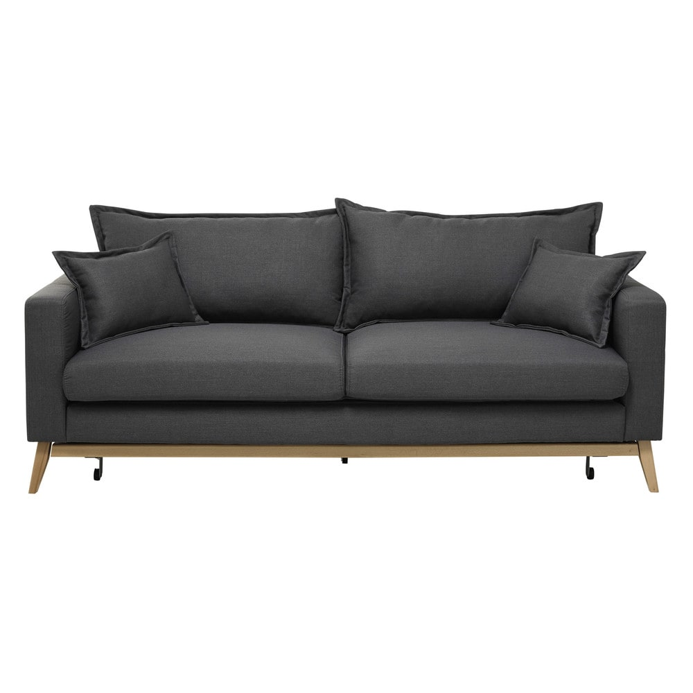 ausziehbares sofa 3 sitzig aus stoff schiefergrau duke. Black Bedroom Furniture Sets. Home Design Ideas