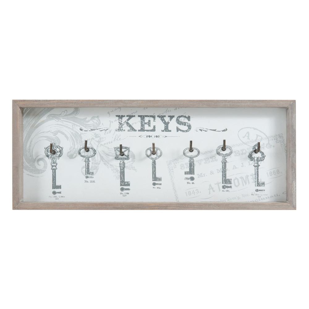 bacheca portachiavi grigia in legno 16 x 41 cm home keys