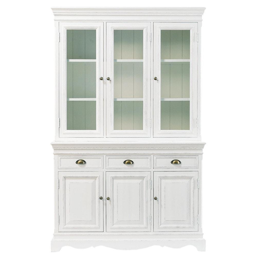 Bahut en bois de paulownia blanc l 124 cm jos phine for Meuble josephine maison du monde
