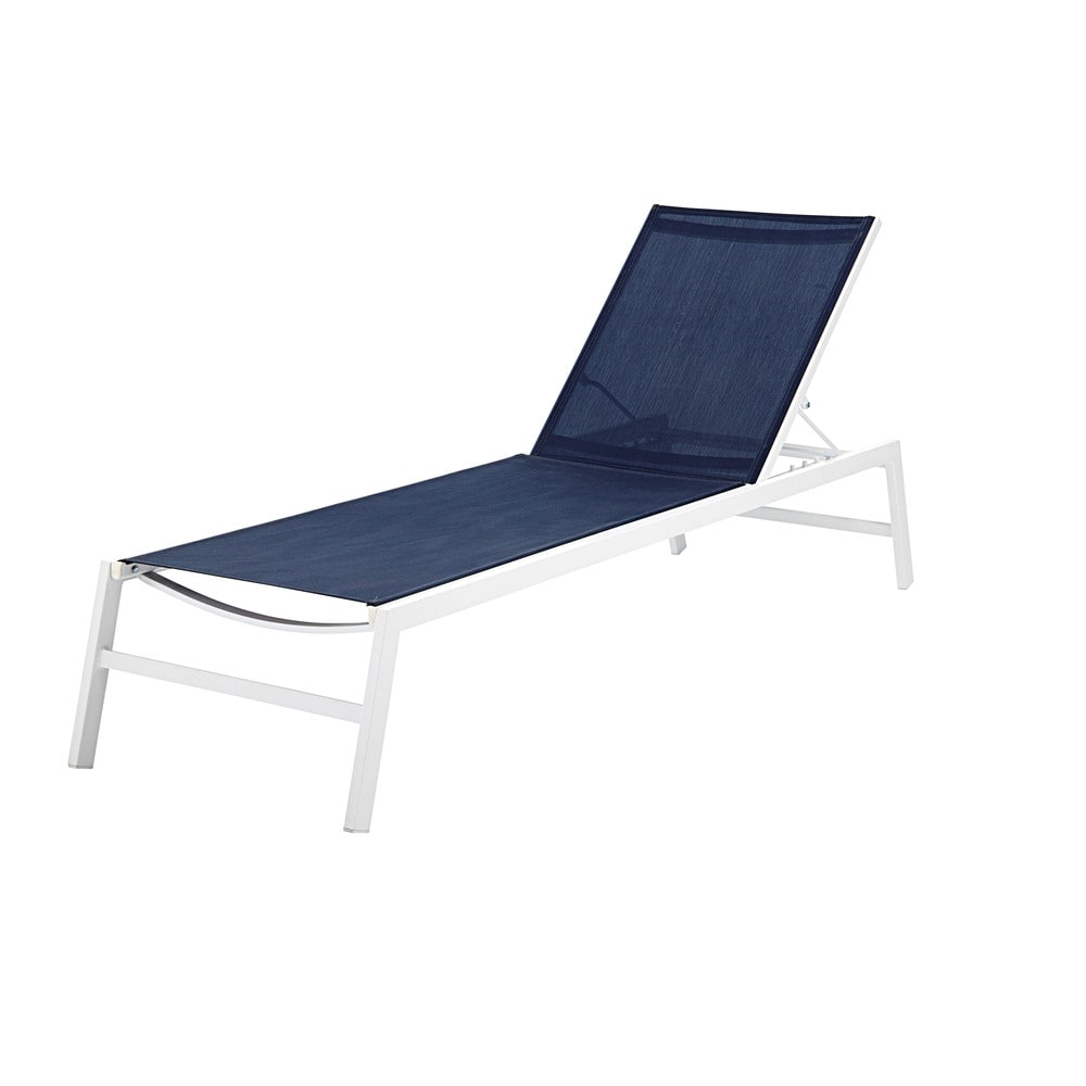 bain de soleil en aluminium blanc et toile plastifi e bleu marine hawai maisons du monde. Black Bedroom Furniture Sets. Home Design Ideas