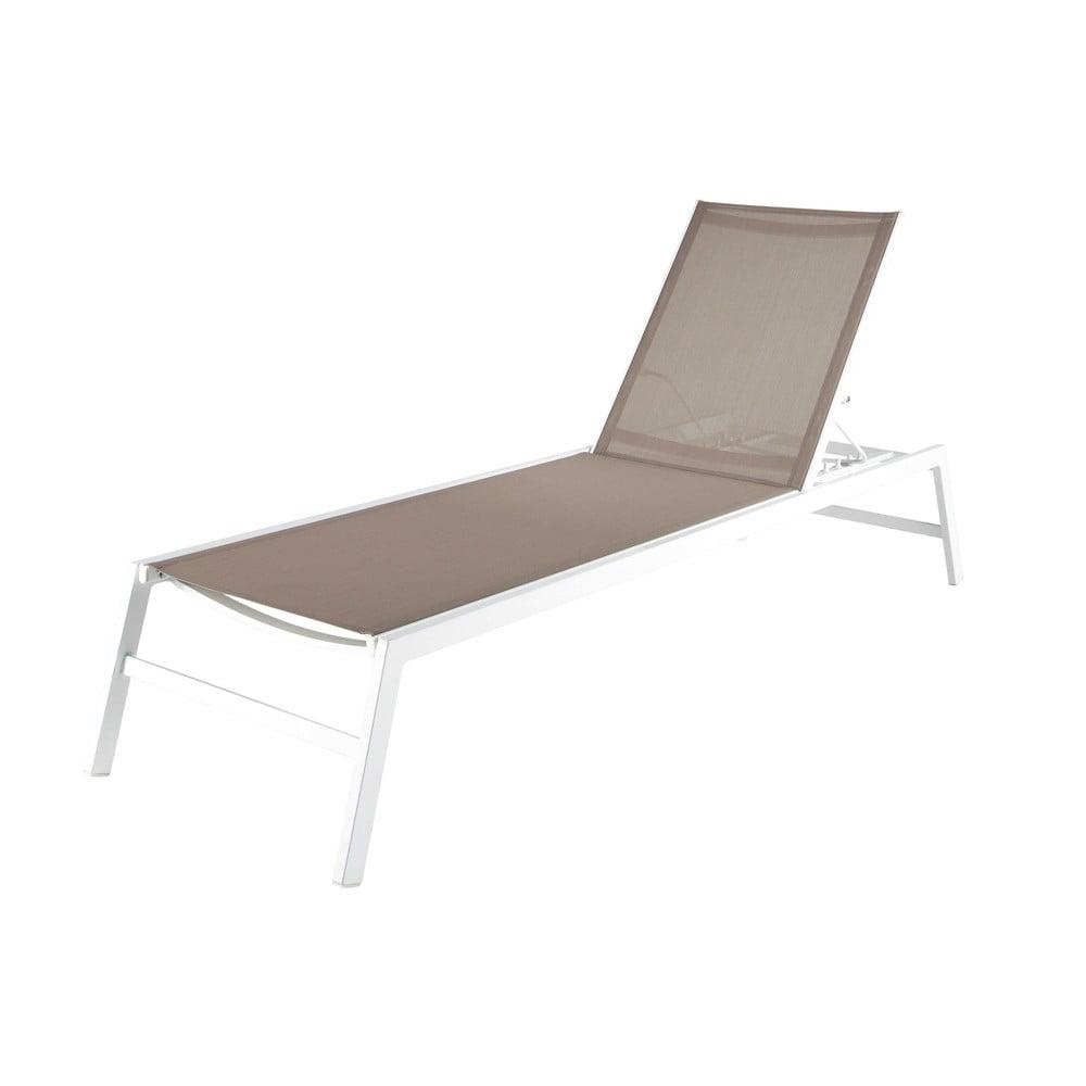Bain de soleil en aluminium blanc l 192 cm hawai maisons for Chaise longue pvc blanc