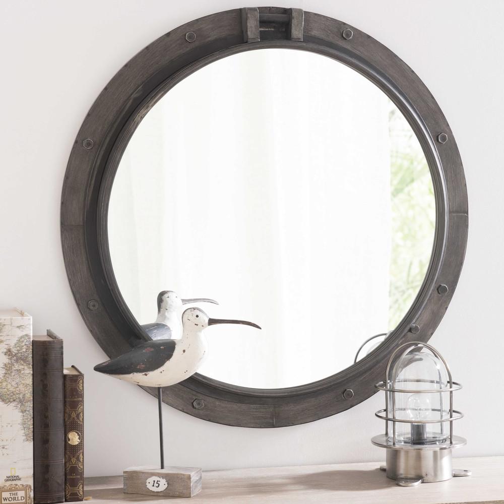 Baltic metal mirror in black h 74cm maisons du monde for Metal miroir