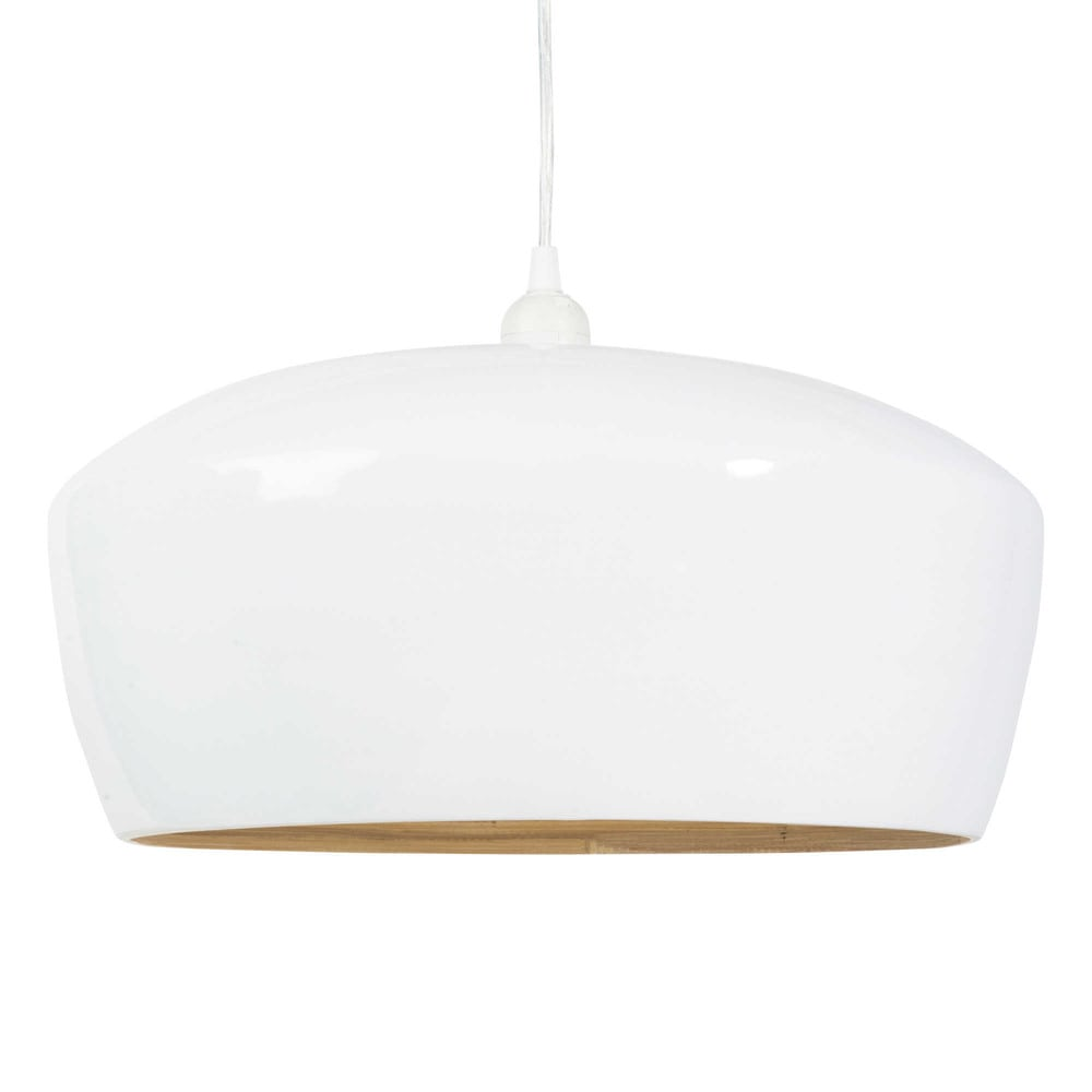 Bamboo pendant lamp in white d 40cm maisons du monde - Maison du monde lampes ...